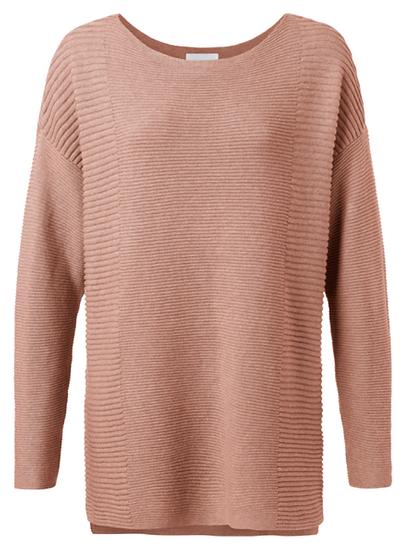 Yaya Cotton Blend Sweater with splits in milk chocolate