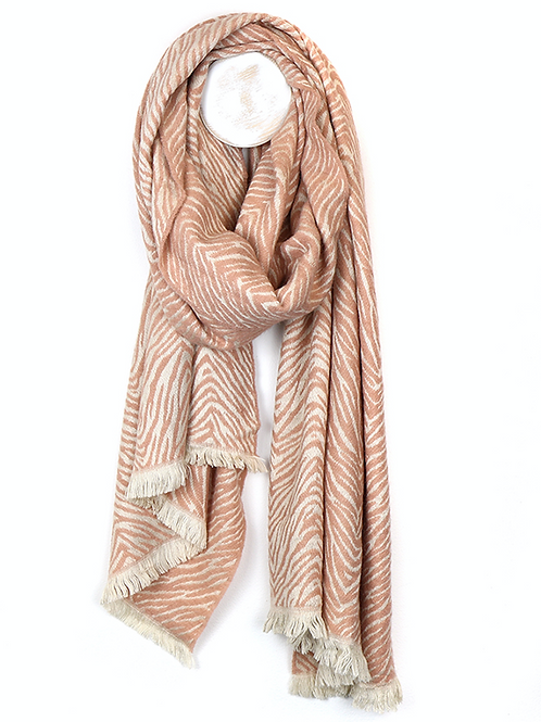 Soft salmon pink scandi style zebra print scarf