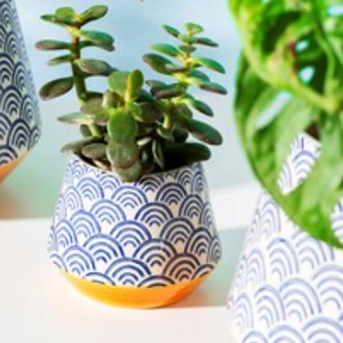 Blue wave pattern planter
