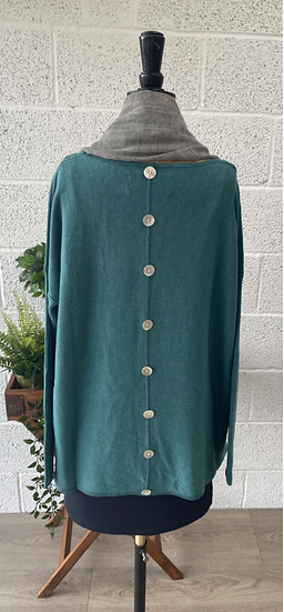 Aqua sweater with buttons down the back