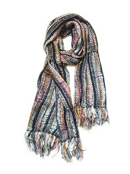 Recycled acrylic blue ice colourway scarf