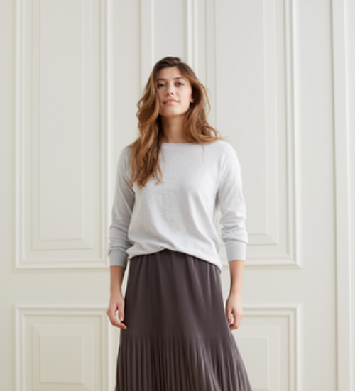 Yaya silk mix sweater with boatneck line and long sleeves