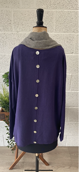 Deep purple sweater with buttons down the back