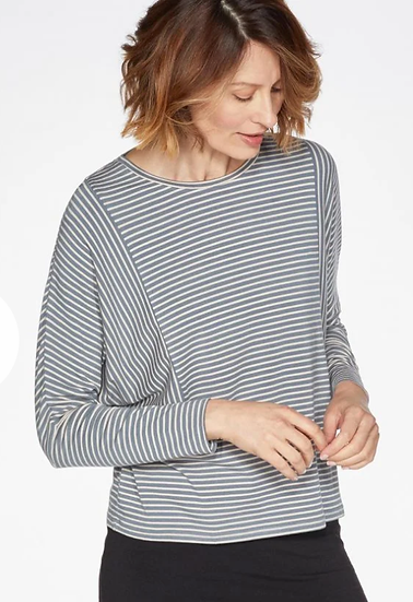 Thought Warne baltic grey batwing striped top