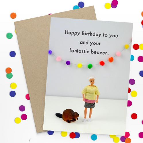 Bold & Bright Happy birthday - beaver