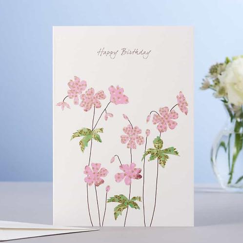 Eloise Hall Geranium Happy Birthday card
