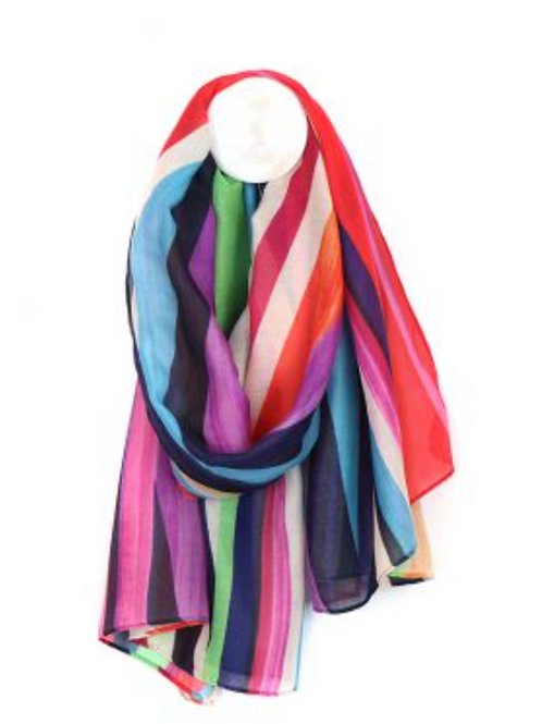 Bright stripe recycled scarf