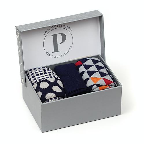 Bamboo sock gift set - grey, orange, navy geo pattern