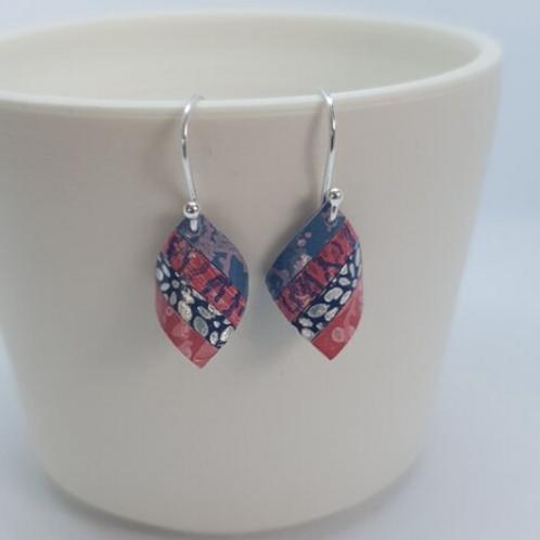Circle & Dash pink & blue handkerchief earrings