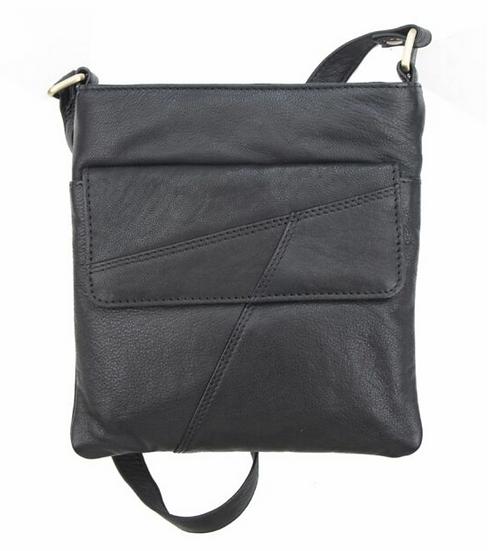 Primehide black crossbody leather bag with zip top