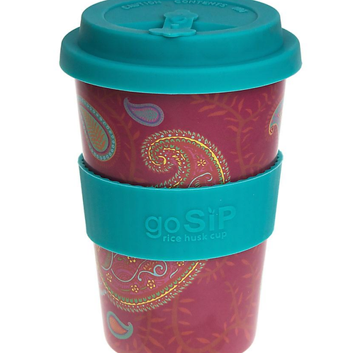 Rice husk eco cup - pink paisley pattern