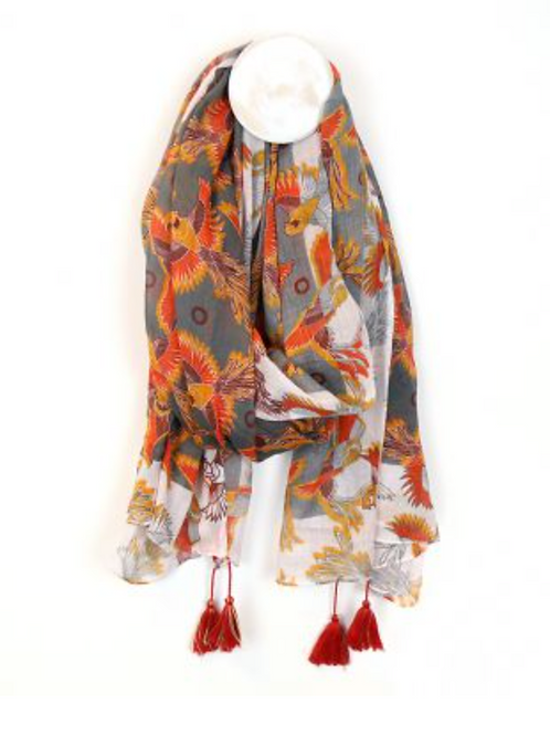 Grey scarf with birds of paradise and tassels