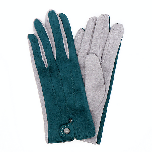 Teal and grey faux suede gloves