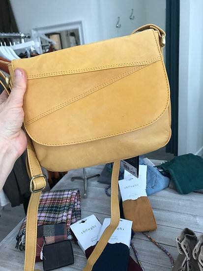 Primehide leather mustard handbag with flap over and zip close