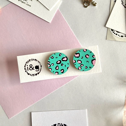 Ivy & Ginger green and pink leopard mini studs