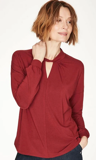 Thought Joan red top with twist detail