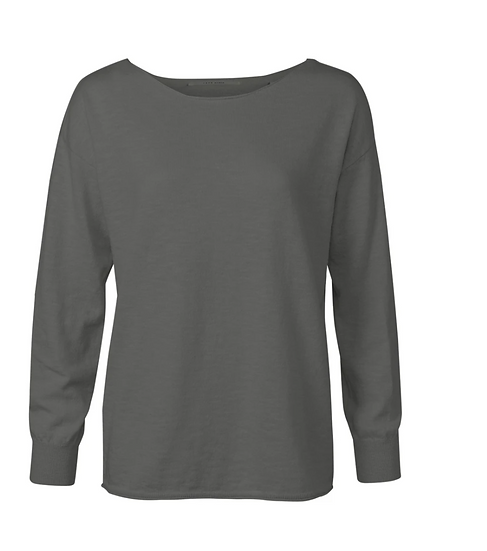 Yaya boatneck sweater in a cashmere blend in dark volcanic grey