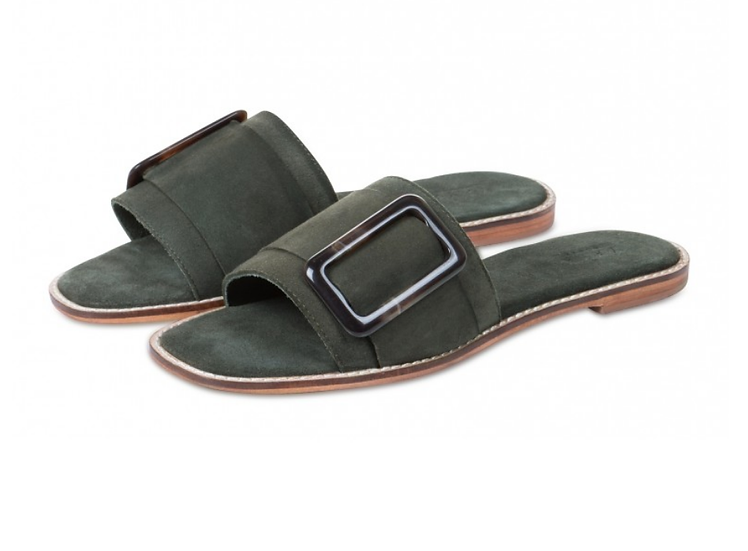 Yaya Leather slippers with buckle - army green