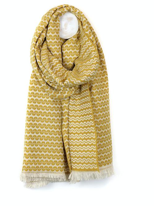 Scandi style ecru viscose mustard scarf