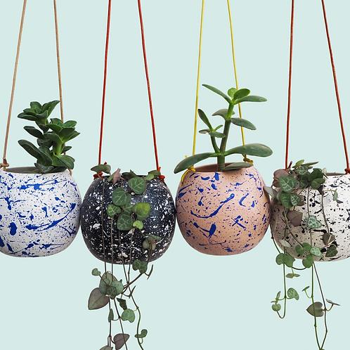 Hanging splatter pot planters