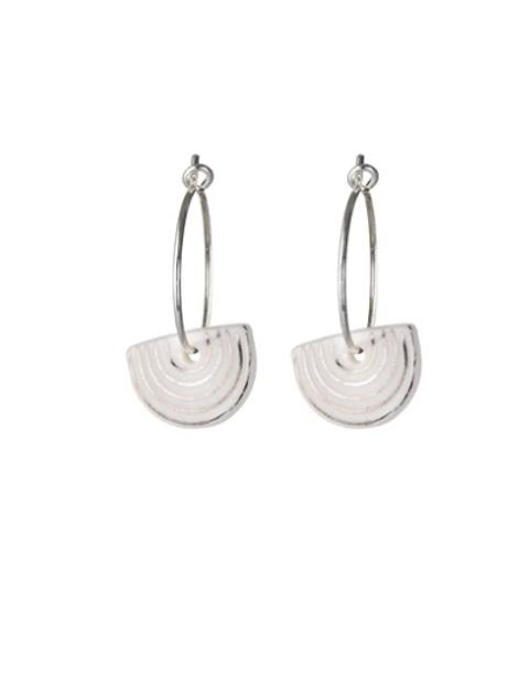 One & Eight white Agatha silver earrings