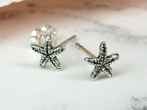 Sterling silver star fish studs