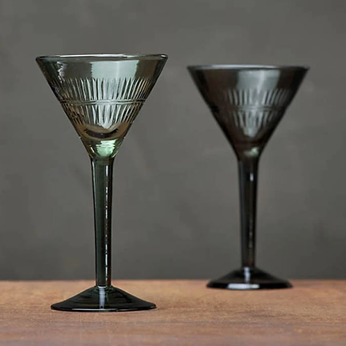 Nkuku Mila cocktail glasses dark emerald - set of 4