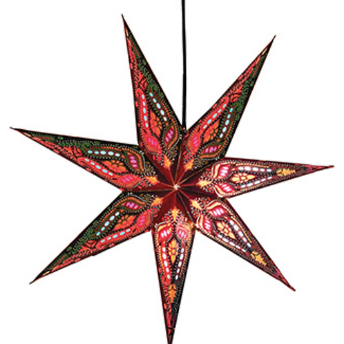 Upcycled paper star shade - red