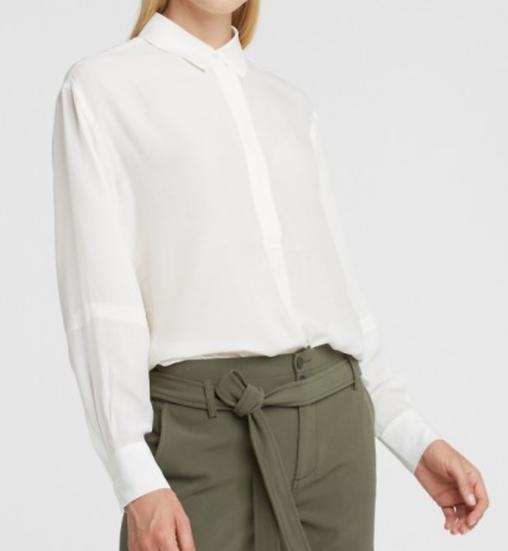 Yaya blouse with puff sleeves bone white