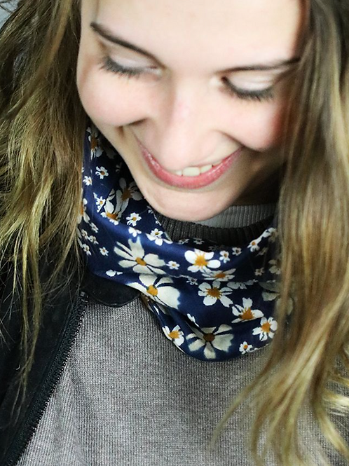 Navy floral snood and face covering
