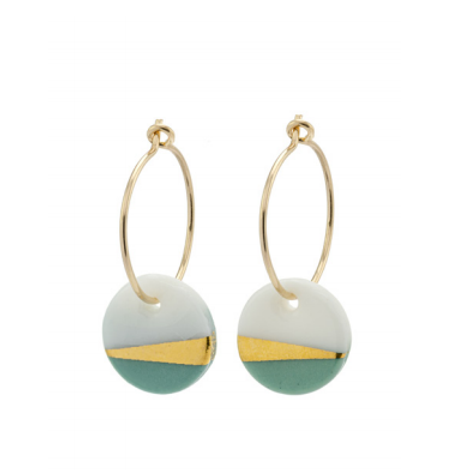 One & Eight sage ray porcelain earrings