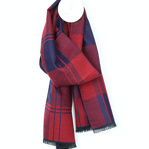 Dark red and navy plaid men's soft scarf