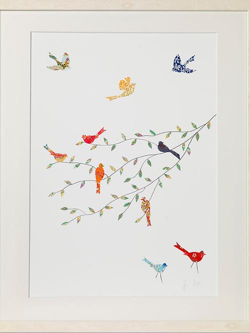Eloise Hall A4 Print - Birds on a branch