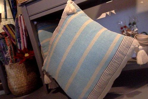 Turquoise stripe cushion