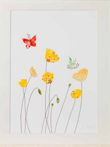 Eloise Hall poppies and butterflies mounted A4 print