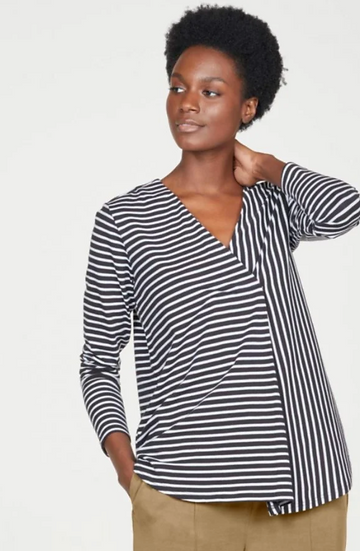 Thought Claresta organic cotton striped jersey long sleeve