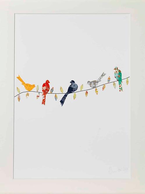 Eloise Hall A4 Mounted Print - Birds on Twig