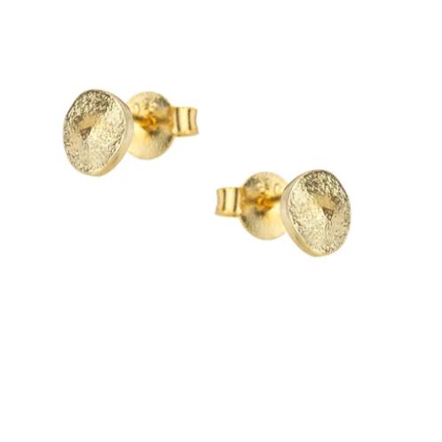 One & Eight gold pebble stud earrings