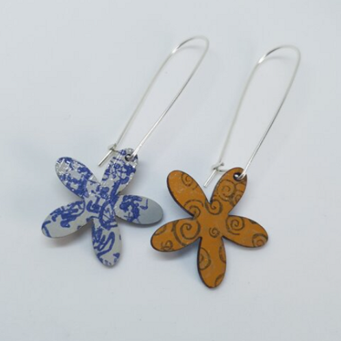 Circle & Dash mustard and pale grey/blue flower shaped earrings