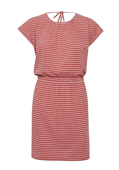 Ichi jersey dress with narrow stripe in faded rose
