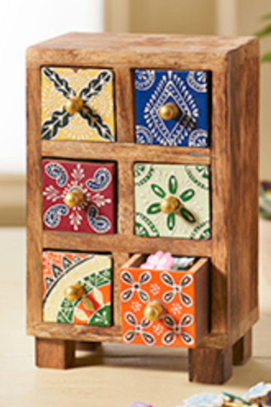 Mango wood 6 drawer chest