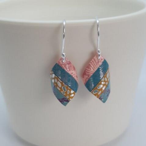 Circle & Dash salmon pink & teal handkerchief earrings