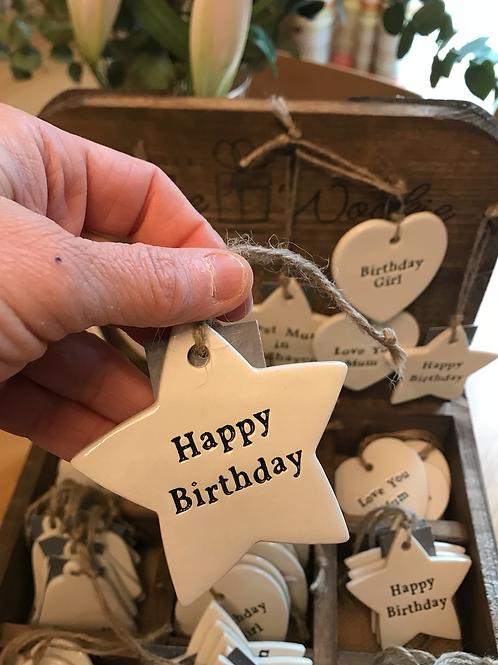 Ceramic hanging decoration - happy birthday