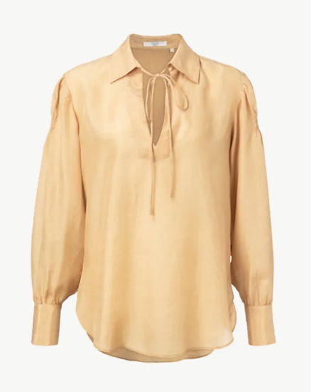 Yaya blouse with puff sleeves in dusty ochre