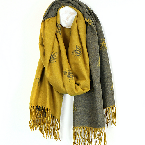 Mustard and grey reversible bee scarf