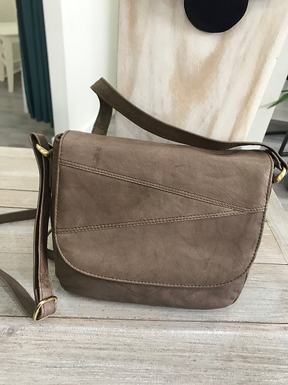 Primehide brown leather handbag with flap close and zip