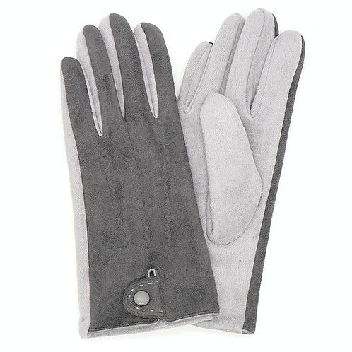 Dark grey faux suede gloves