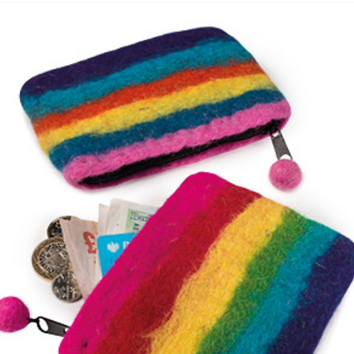 Felt rainbow purse