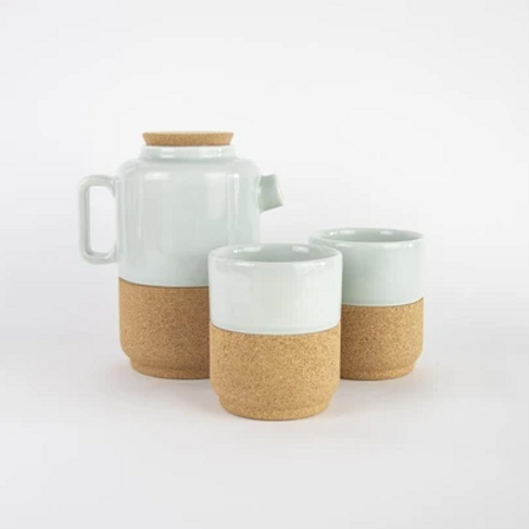 Liga teapot and two cups gift set - aqua