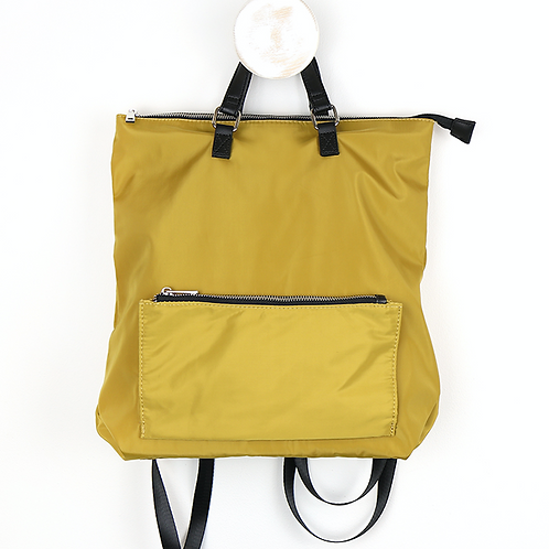 Mustard back pack with front zip